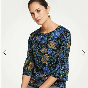 Ann Taylor Floral Ponte Gathered Sleeve Top - new